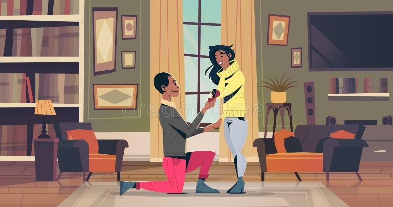 Mannen som knäfaller rymma förlovningsringen som föreslår kvinnan, att gifta sig honom lyckliga par för afrikanska amerikanen för vektor illustrationer