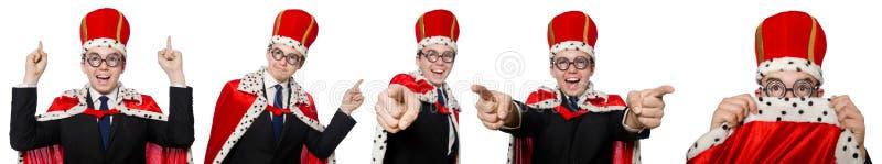 Mannen som pekar hans fingrar som isoleras på vit royaltyfria foton