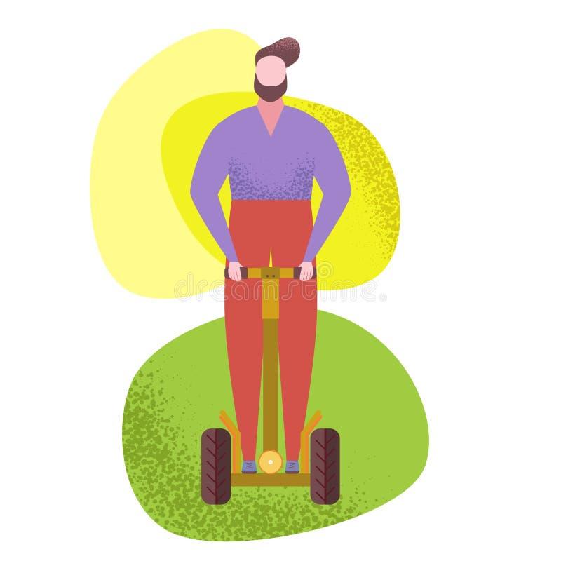 Mannen som rider enrullad sparkcykel, gyroskop parkerar in royaltyfri illustrationer