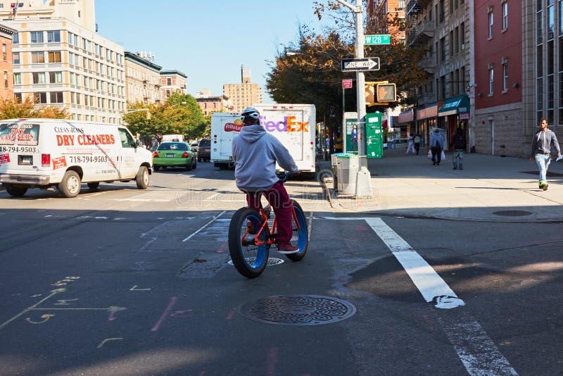 Mannen som rider hans cykel med fett, tröttar nyc royaltyfria foton
