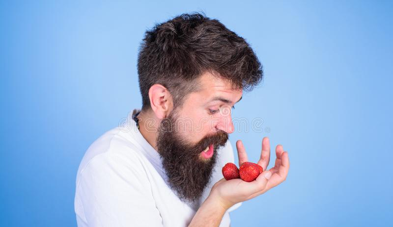 Mannen som ropar den hungriga giriga framsidan med skägget, äter jordgubbar Tryck inte på mitt bär Girigt hungrigt gå för man int royaltyfria foton