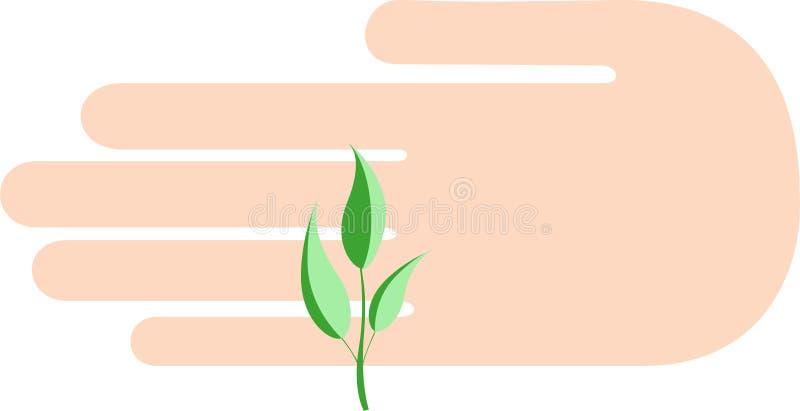 Mannen som ` s gömma i handflatan, skyddas av en liten grön grodd stock illustrationer