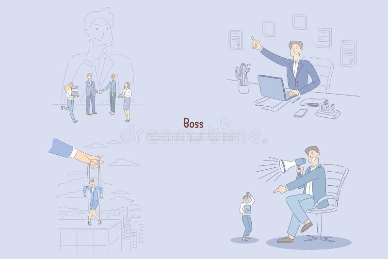 Mannen som tänker om hans anställda, den ilskna chefen som i regeringsställning sitter, affärskvinnan kontrollerade vid handen, ö stock illustrationer