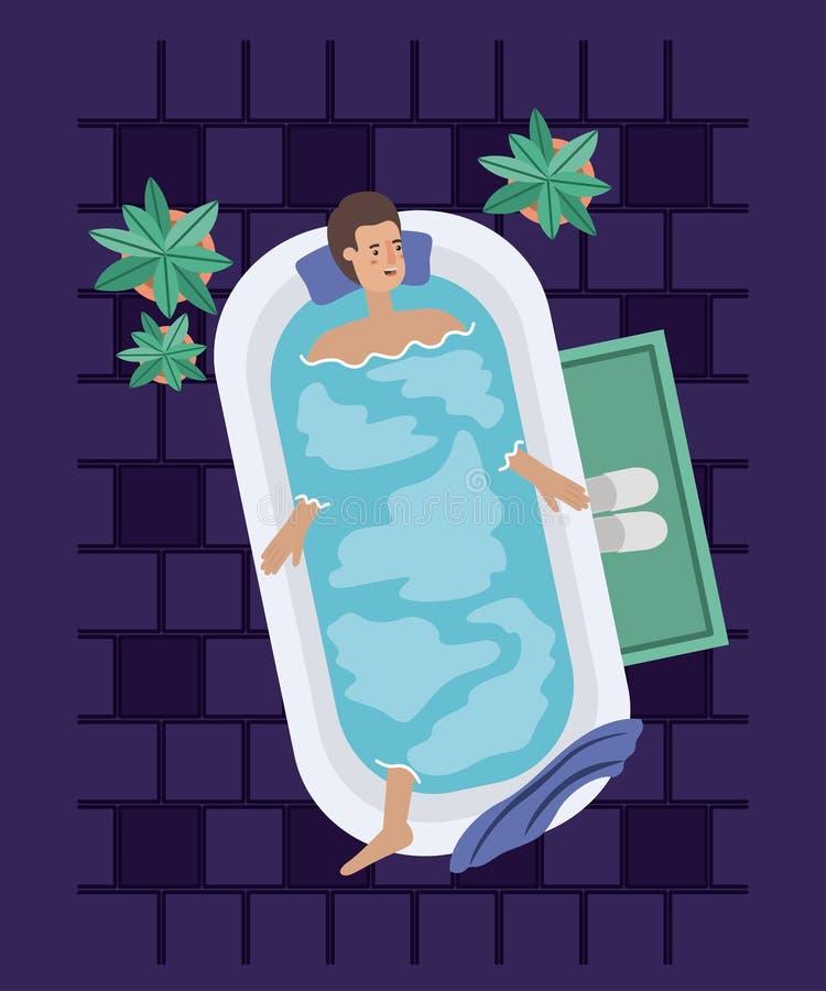 Mannen som tar ett bad, badar royaltyfri illustrationer
