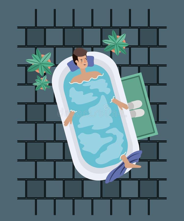 Mannen som tar ett bad, badar stock illustrationer