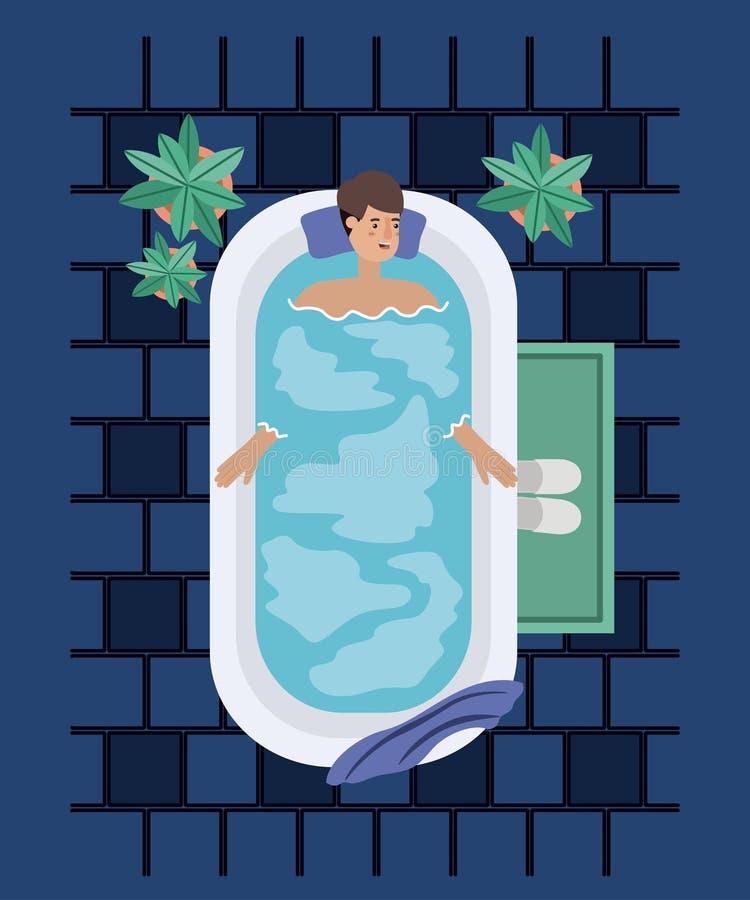 Mannen som tar ett bad, badar vektor illustrationer