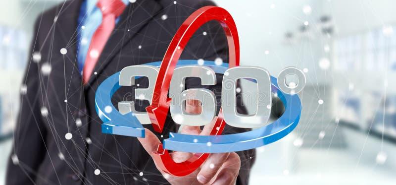 Mannen som trycker på 360 grad 3D, framför symbolen med hans finger vektor illustrationer