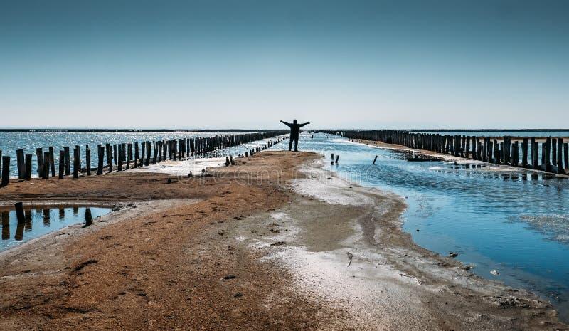 Mannen står med riced händer på torkat saltar sjön på stället av den brutna bron i ökenlandskap royaltyfri foto