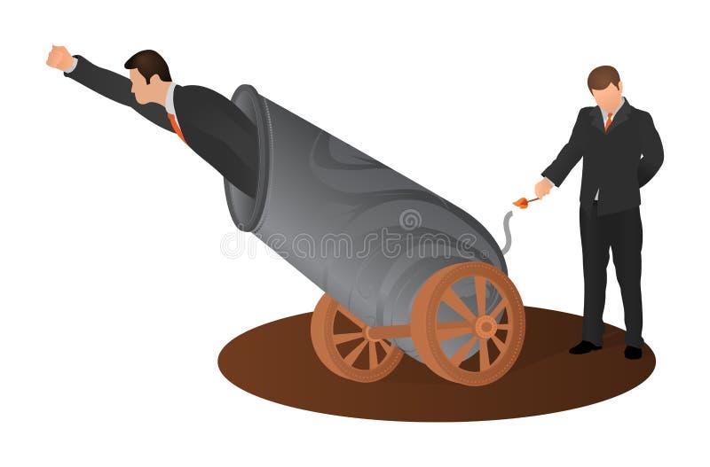 Mannen st?ller in p? brand kanonen som flyger ut ur den f?r framst?llning av en f?rsta fjant av hans aff?r Riskabel affärsman som vektor illustrationer