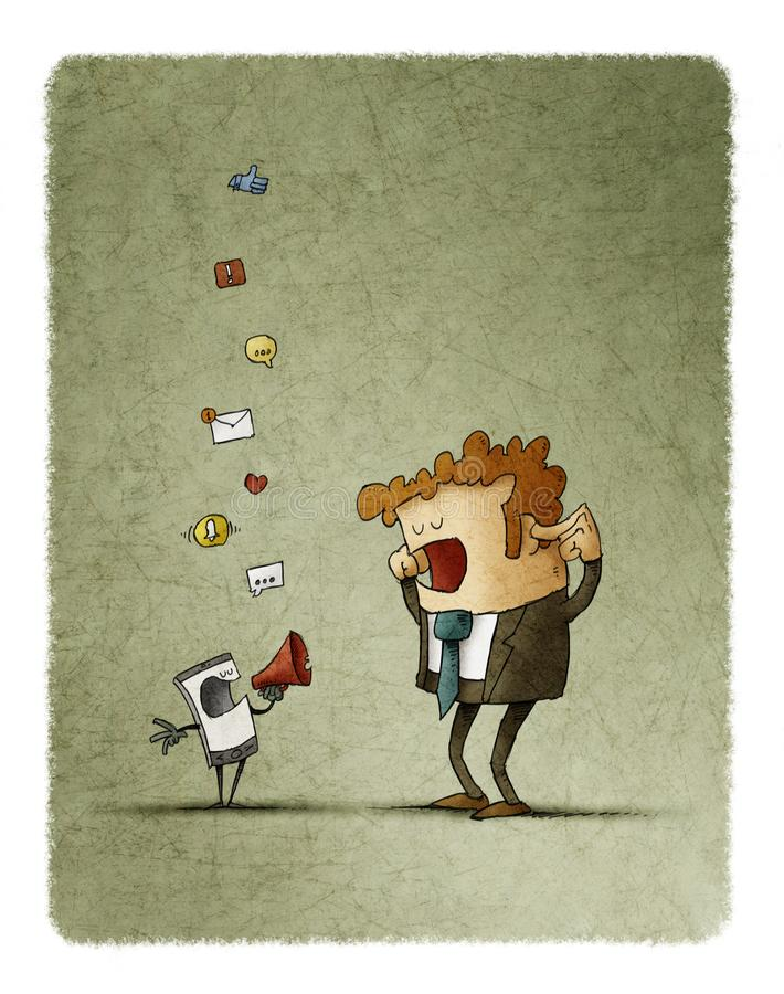 Mannen täcker hans öron, medan hans mobiltelefon meddelar honom till och med en megafon royaltyfri illustrationer