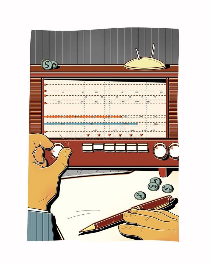 Mannen trimmar den gamla radion, fångar radiovågen Överföring av hemlig information finansiell analys stock illustrationer