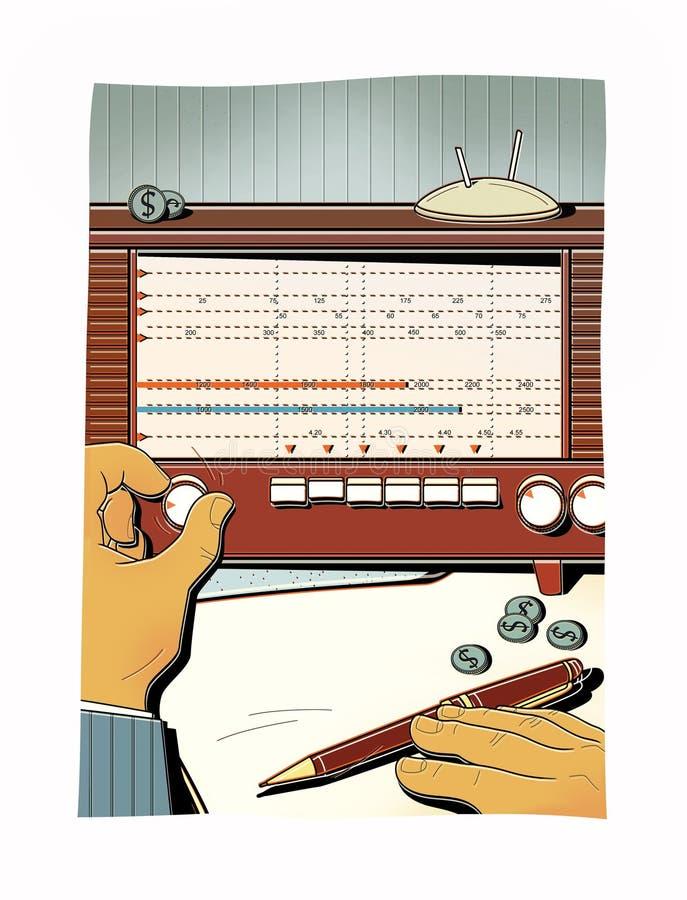 Mannen trimmar den gamla radion, fångar radiovågen Överföring av hemlig information finansiell analys vektor illustrationer