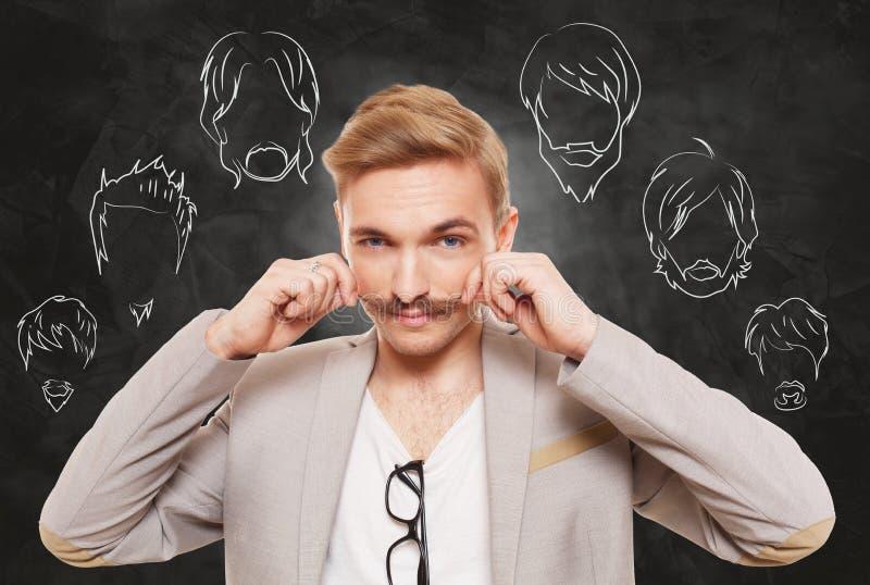Mannen väljer stil, skägget och mustaschen för ansikts- hår arkivbilder