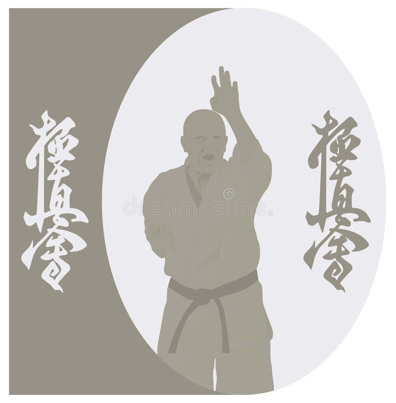 mannen visar karate på en grå bakgrund vektor illustrationer