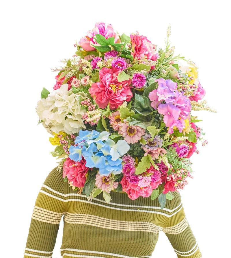 Mannequin avec un bouquet des fleurs image stock