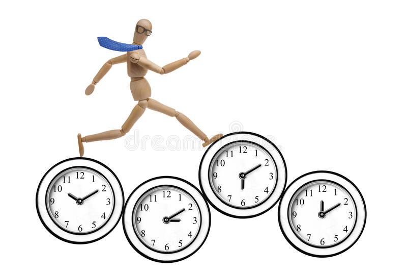 Mannequin biznesmena ostatecznego terminu zegaru bieg Odizolowywający fotografia royalty free