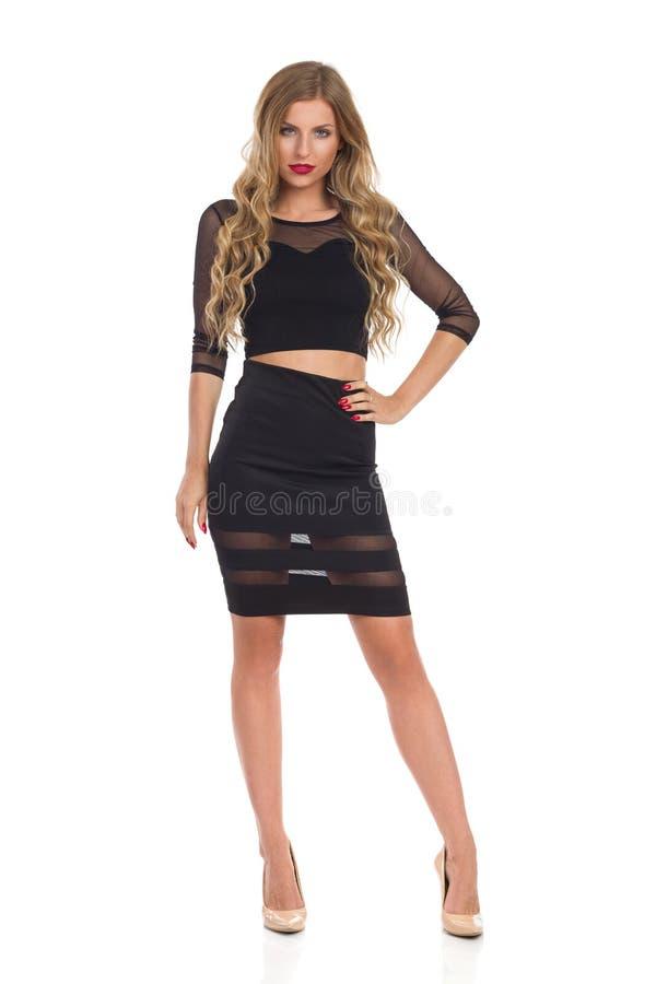 Mannequin blond In Black Dress photos stock