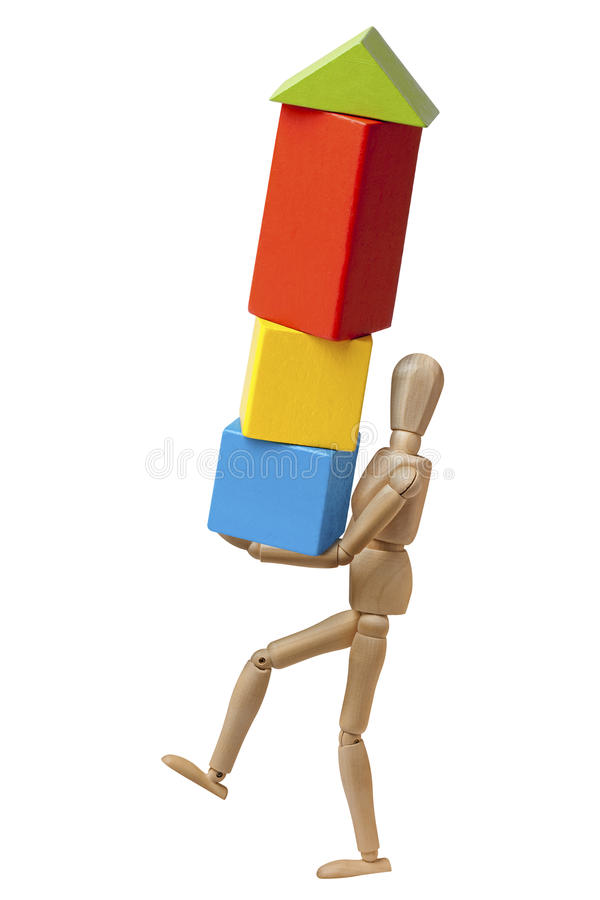 Mannequin Carrying Bricks Effort Isolated stock images