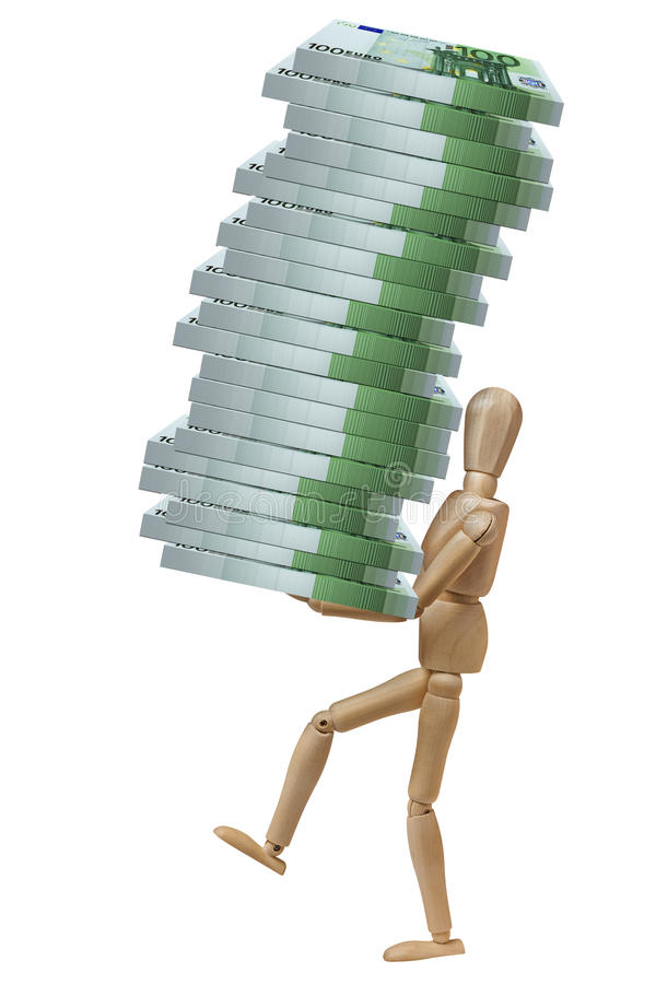 Mannequin Carrying Pile Packs 100 Euro Banknotes Isolated royalty free stock images