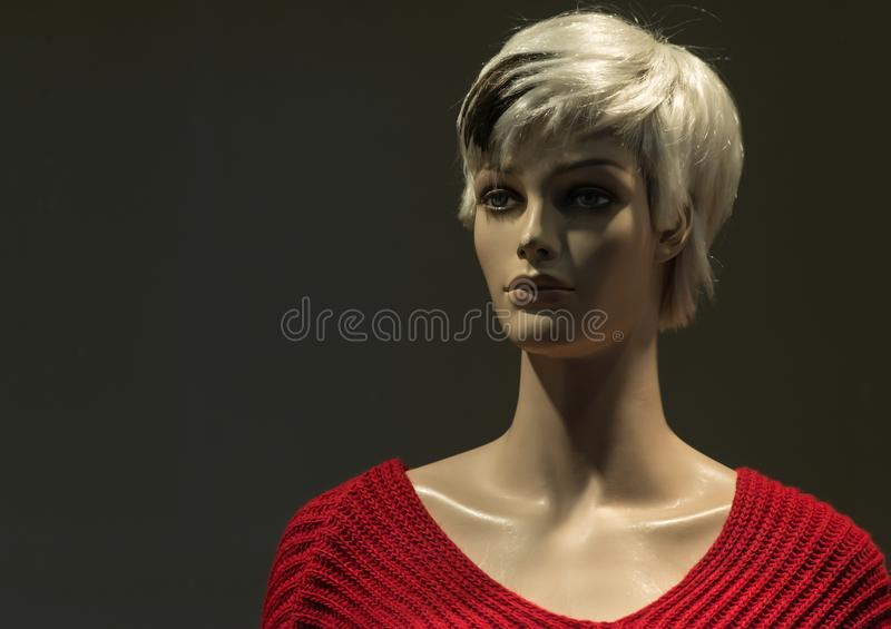 Store woman mannequin wearing clothes royalty free stock images