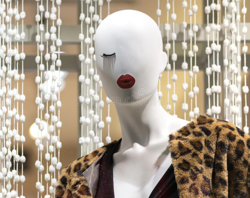 Store woman mannequin wearing clothes stock photography