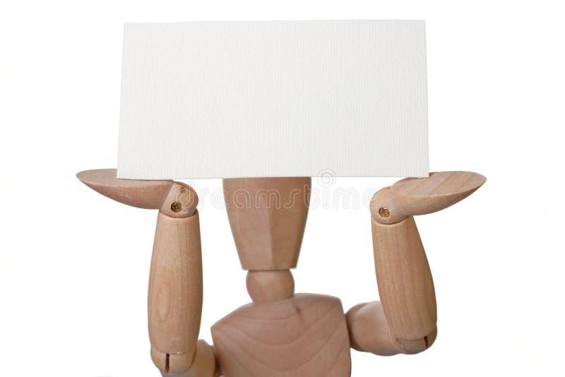 Mannequin com cartão em branco foto de stock