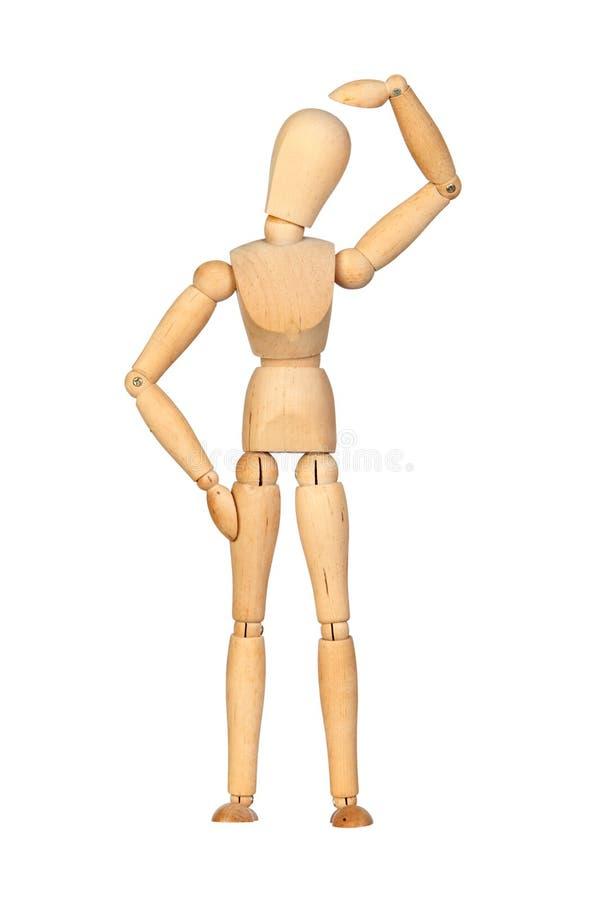Mannequin de madeira articulado pensativo fotografia de stock royalty free