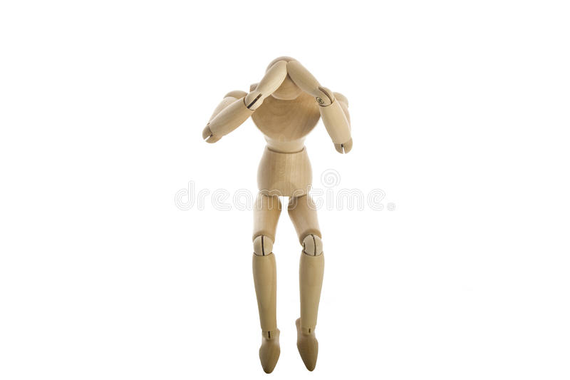 Mannequin de madeira com dor principal foto de stock royalty free