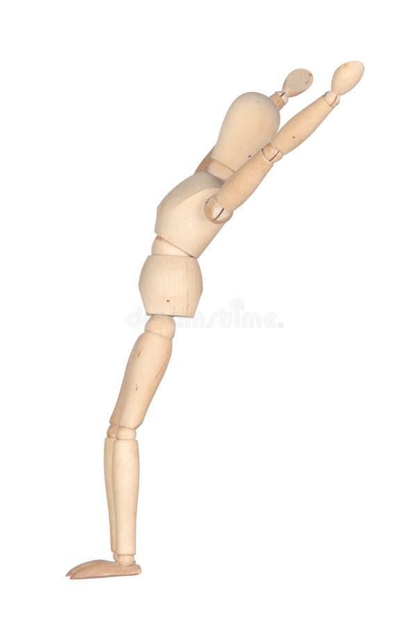 Mannequin de madeira esticando imagem de stock royalty free