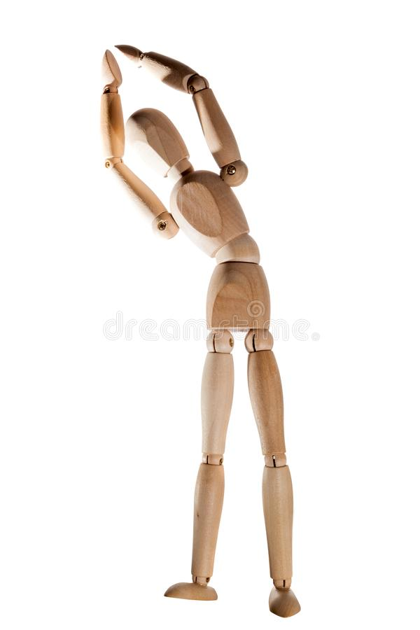 Mannequin doing stretching exercise. Shot of Mannequin doing stretching exercise stock image
