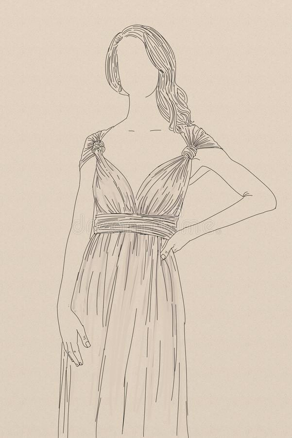 A mannequin with dress stock illustration