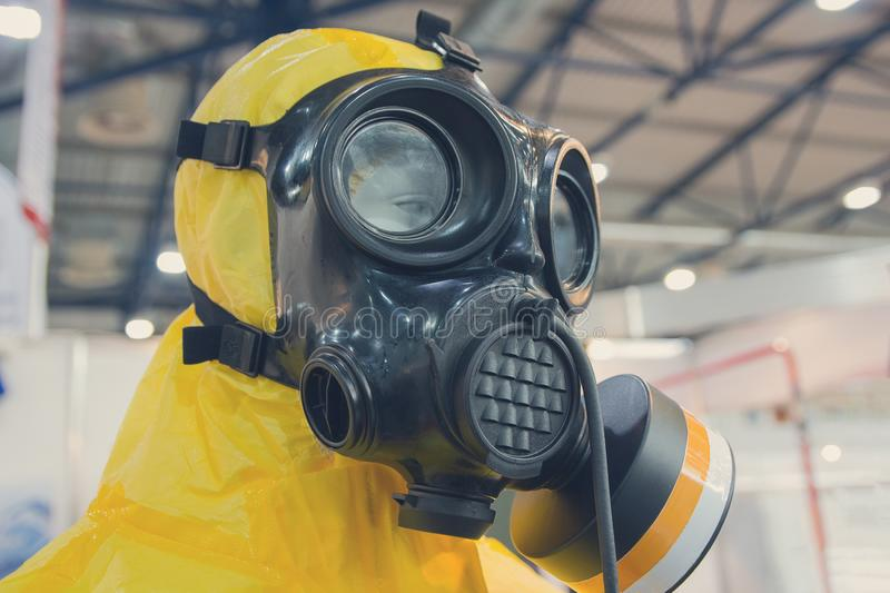 Mannequin dressed in a chemical protection suit. Industry royalty free stock photography