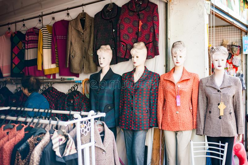 Mannequin dummy imitating woman in shop stock photos