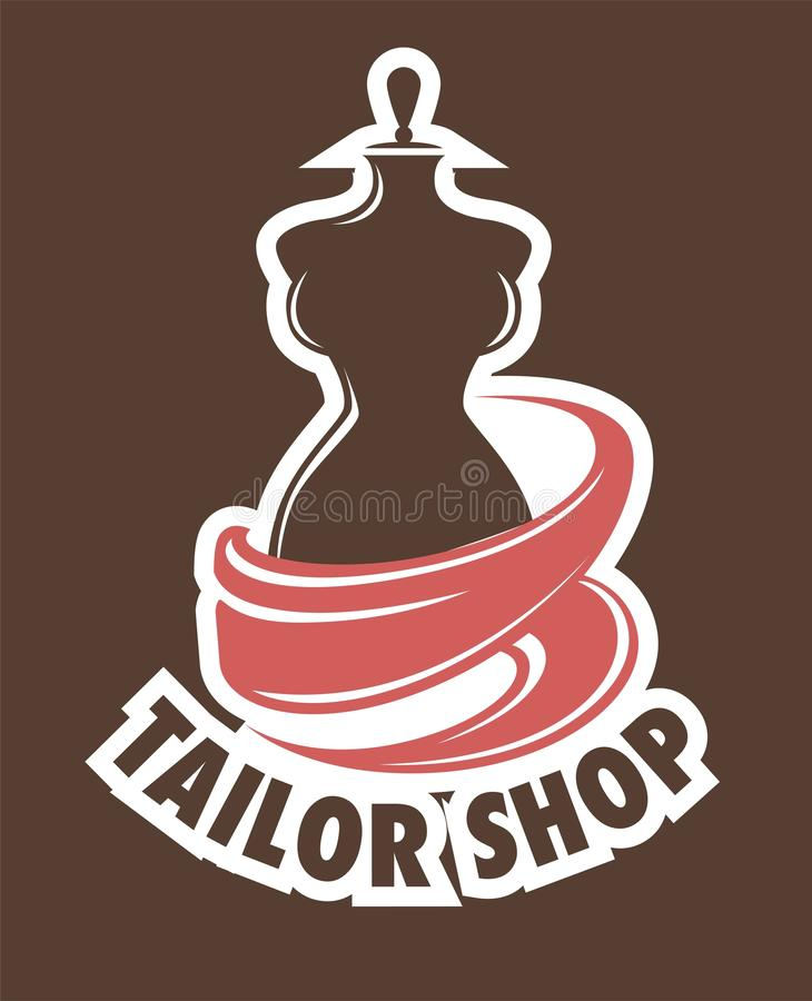 Tailor shop or atelier icon mannequin or dummy and fabric vector illustration
