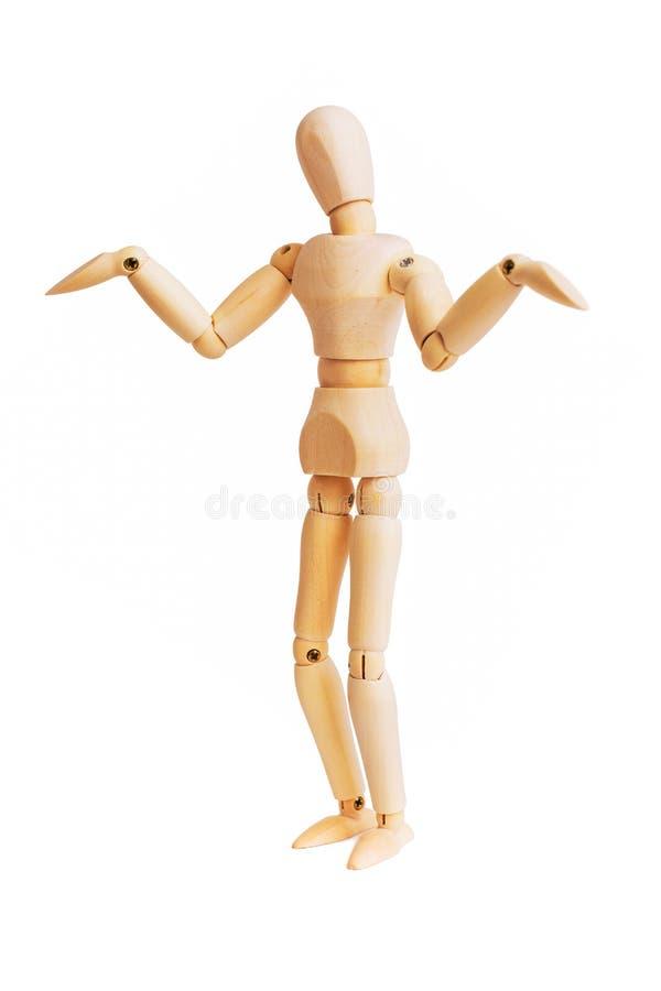 Mannequin en bois d'isolement sur le blanc photos stock