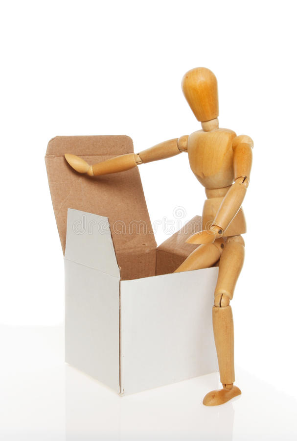 Mannequin en doos royalty-vrije stock afbeelding