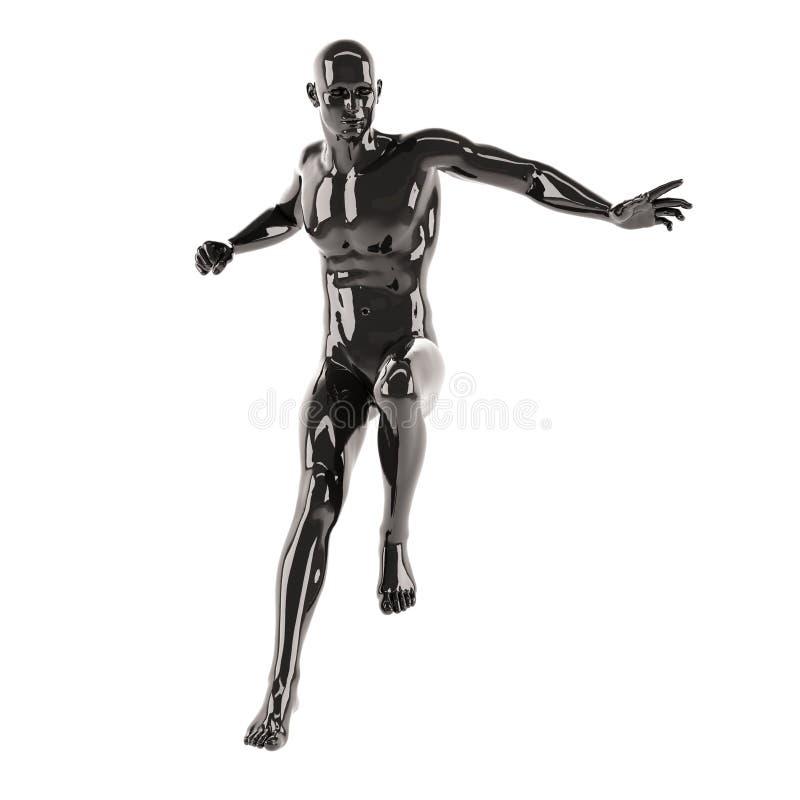 Mannequin en plastique noir abstrait de corps humain au-dessus du fond blanc Pose branchante illustration stock