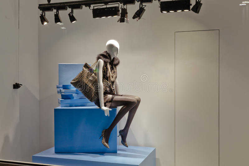 Mannequin in fashion showcase royalty free stock photos