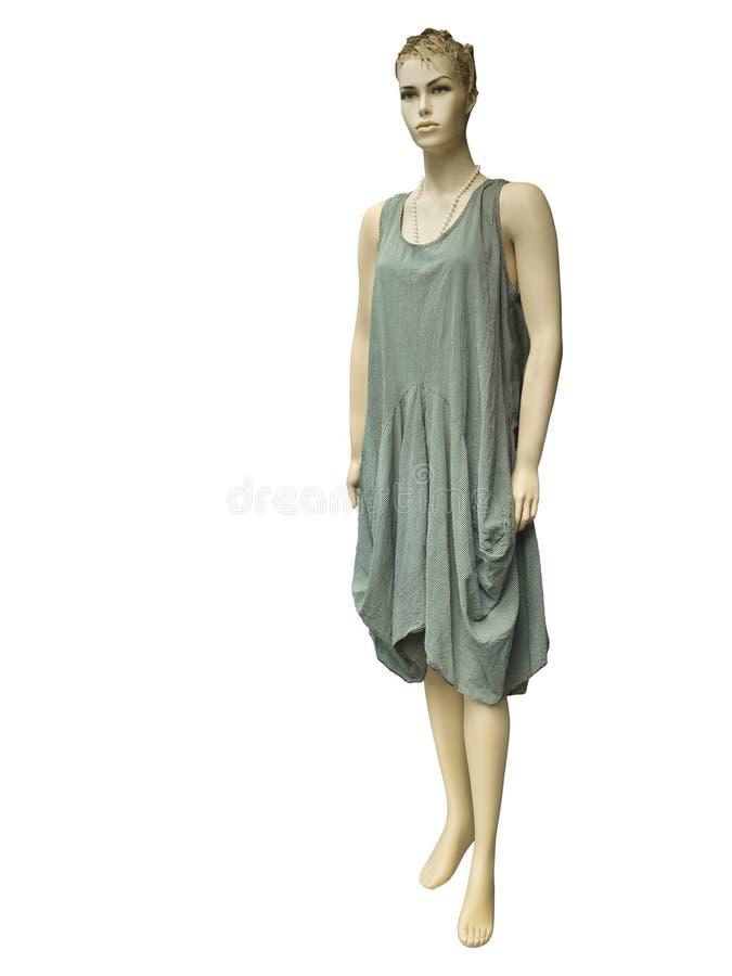 Download Mannequin Femelle Habillé Dans La Robe Barrée Par Vert Image stock - Image du tissu, objet: 77150113