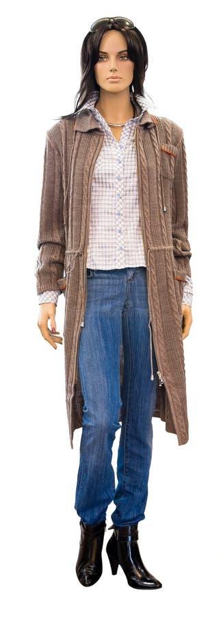 Mannequin in gestricktem Mantel, Ausschnittspfad stockfoto