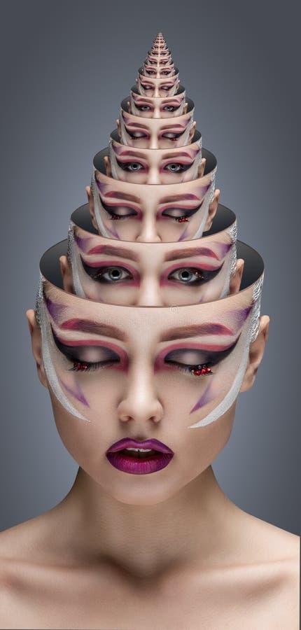 Mannequin Girl Portrait met Heldere Make-up portretconcept een piramide van portretten royalty-vrije stock afbeelding
