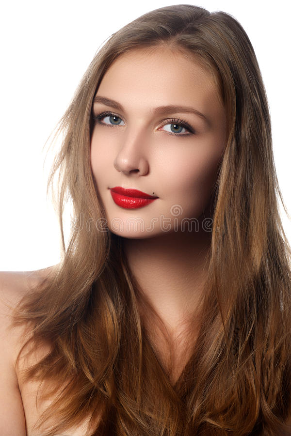 Mannequin Girl Portrait met Lang Blazend Haar Glamour Mooie Vrouw met Gezond en Schoonheids Bruin Haar Haarschoonheidsmiddelen royalty-vrije stock afbeelding