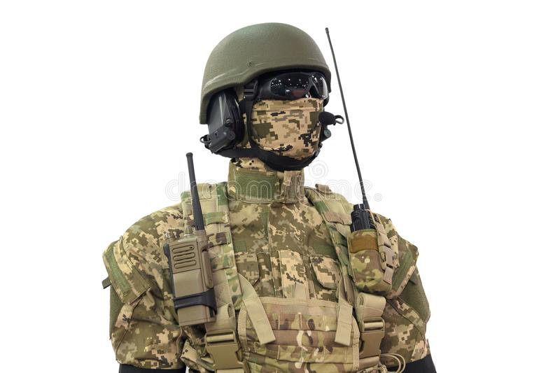 Mannequin in helmet, military uniform and with communication tools royalty free stock photography