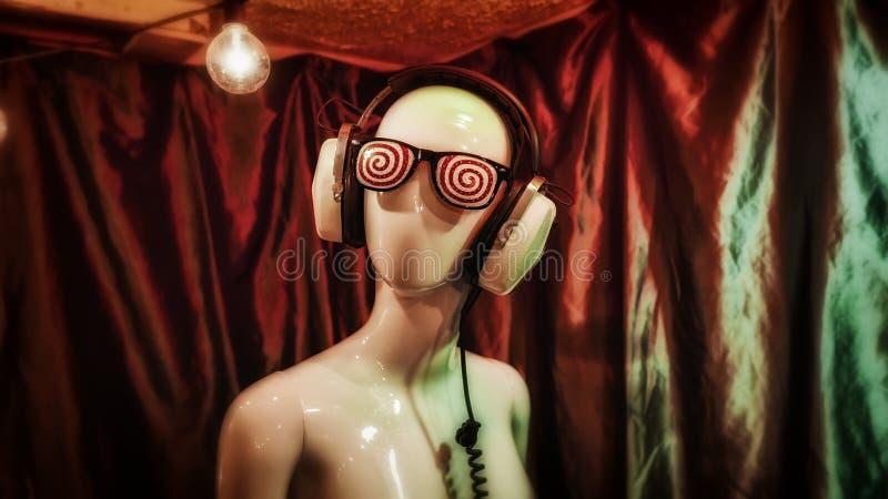 Mannequin-hoofdtelefoons Zwavelogen royalty-vrije stock afbeelding