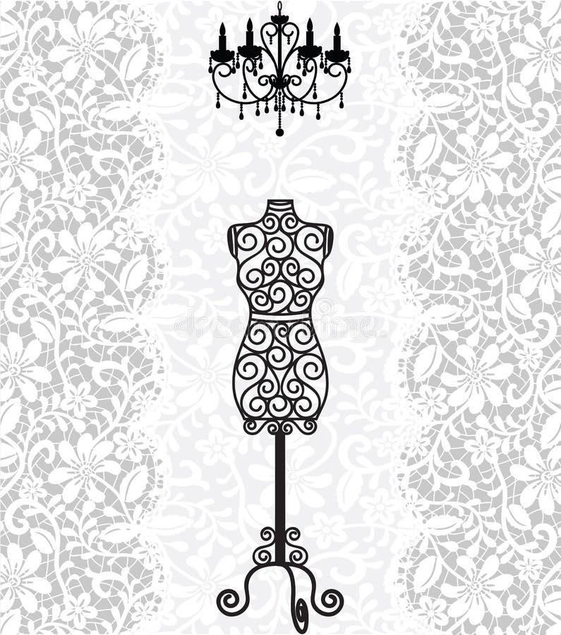 Mannequin i świecznik na koronkowym tle ilustracji