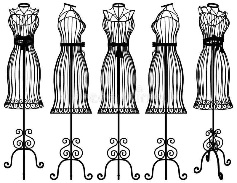 Mannequin-Kleiderbügel-Illustrations-Vektor stock abbildung