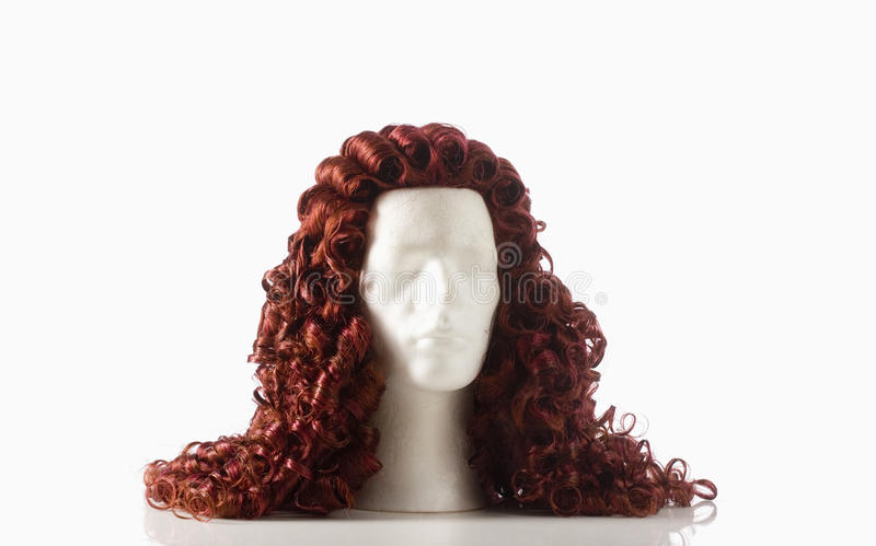 Mannequin Male Head with Alonge Wig. On White royalty free stock image