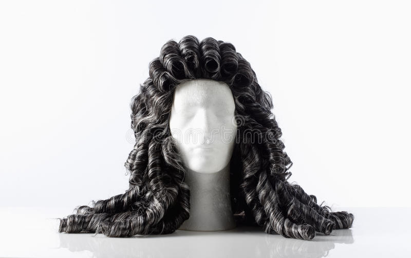 Mannequin Male Head with Alonge Wig. On White royalty free stock images