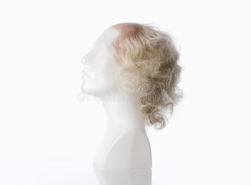 Mannequin Male Head with Bald Wig. On White stock image