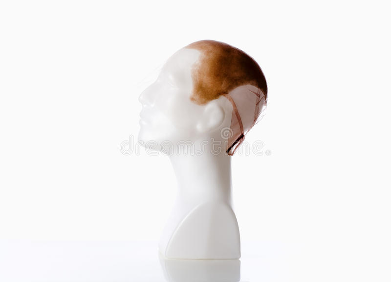 Mannequin Male Head with Bald Wig. On White stock photo